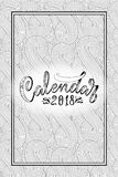 2 0 1 8 calendar cover, lettering composition, background with doodle pattern. Illustration Stock Image