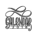 2 0 1 8 calendar cover, lettering composition. Illustration Stock Images