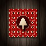 2015 calendar cover on wooden texture background. Red color poster. Flat christmas tree icon with long shaddow on decorative background with sheep, christmas stock illustration