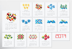 Calendar 2017. Creative monthly  calendar 2017. Vector eps10 template.  Set of 12 Months.  Can be used for web and print design: card, banner, poster, label Royalty Free Stock Images