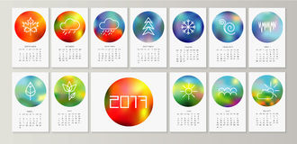 Calendar 2017. Creative monthly  calendar 2017. Vector eps10 template.  Set of 12 Months.  Can be used for web and print design: card, banner, poster, label Royalty Free Stock Photography