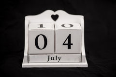 Calendar cubes July, fourth, 4, 4th Stock Image