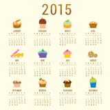 Calendar 2015 Cupcake Cartoon Cute Vector Royalty Free Stock Image