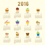 Calendar 2016 Cupcake Cartoon Cute Vector Stock Photography