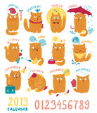 Calendar With Cute Bright Cats Stock Photos