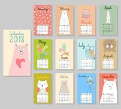 Cute Calendar 2018. Royalty Free Stock Images