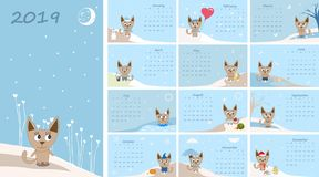 Calendar 2019. Cute cats for every month. Illustration vector illustration