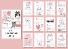 Calendar 2016. Cute cats for every month,vector. Illustration picture Royalty Free Stock Photo