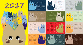 Calendar 2017. Cute cats for every month Royalty Free Stock Photos