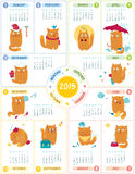 Calendar 2015 With Cute Cats. Vector calendar 2015 with cute personages on white backgroun Stock Photos