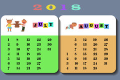 Calendar 2018 with cute children. Calendar July and August 2018 with cute children in cartoon style. Isolated on white background vector illustration eps 10.r Royalty Free Stock Photos