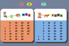 Calendar 2018 with cute children. Calendar May and June 2018 with cute children in cartoon style. Isolated on white background vector illustration eps 10 royalty free illustration