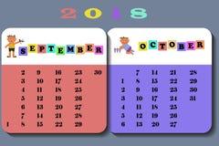 Calendar 2018 with cute children. Calendar September and October 2018 with cute children in cartoon style. on white background vector illustration eps 10 stock illustration