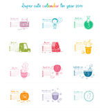 Calendar 2014. Cute doodle calendar for 2014. Week starts from Sunday royalty free illustration