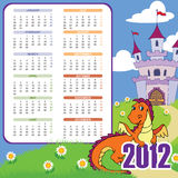 Calendar with cute dragon. Week starts MON; 210mmx210mm; bleed left vector illustration