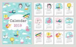 Calendar 2019 with cute forest animals. Hand drawn vector. Illustration vector illustration