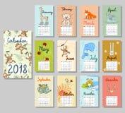 Cute Calendar 2018. Royalty Free Stock Photography