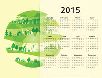 Calendar 2015. Cute green and ecology calendar on 2015 year vector illustration
