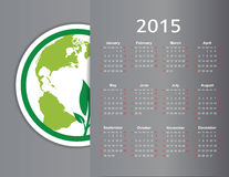 Calendar 2015. Cute green and ecology calendar on 2015 year Stock Image
