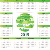 Calendar 2015. Cute green and ecology calendar on 2015 year Stock Photos