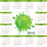 Calendar 2015. Cute green and ecology calendar on 2015 year royalty free illustration