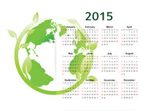 Calendar 2015. Cute green and ecology calendar on 2015 year stock illustration