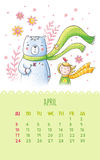 Calendar for 2016 with cute illustrations by hand. April. Cartoon illustration with girl, bear and flowers. Can be used like happy birthday cards Stock Photos