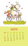 Calendar for 2016 with cute illustrations by hand. August. Cartoon bear and girl ride a bicycle. Can be used like happy birthday cards royalty free illustration