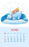Calendar for 2016 with cute illustrations by hand. December. Cartoon polar bear and a girl sleeping. Can be used like happy birthday cards Royalty Free Stock Photos