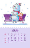 Calendar for 2016 with cute illustrations by hand. February. Hand drawing illustration in cute style. Сartoon teddy bear and girl sitting on the bench. Can be royalty free illustration