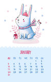 Calendar for 2016 with cute illustrations by hand. January. Hand drawing illustration with cartoon rabbit in the hat and scarf. Can be used like happy birthday Stock Photo