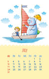 Calendar for 2016 with cute illustrations by hand. July. Cartoon illustration with bear and girl sail boat. Can be used like happy birthday cards Stock Images