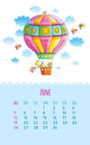 Calendar for 2016 with cute illustrations by hand. June. Cartoon illustration with balloon, teddy bear and a girl. Can be used like happy birthday cards Stock Photos
