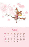 Calendar for 2016 with cute illustrations by hand. March. I illustration with romantic girl sitting on a tree branch and drinking tea. Can be used like happy royalty free illustration
