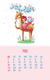Calendar for 2016 with cute illustrations by hand. May. Cartoon illustration with cute deer and a girl. Can be used like happy birthday cards vector illustration