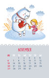Calendar for 2016 with cute illustrations by hand. November. Cartoon white teddy bear and a girl drinking tea. Can be used like happy birthday cards vector illustration