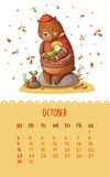Calendar for 2016 with cute illustrations by hand. October. Hand drawing illustration in cute style. Brown teddy bear hugging a girl. Can be used like happy royalty free illustration