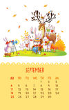 Calendar for 2016 with cute illustrations by hand. September. Cartoon family bunnies take the photo. Can be used like happy birthday cards Stock Photography