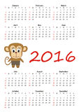 Calendar with cute monkey. Calendar 2016 with cute monkey stock illustration