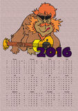 Calendar with cute monkey. Calendar 2016 with cute monkey Royalty Free Stock Images
