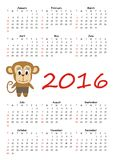 Calendar 2016 with cute monkey. Vector Royalty Free Stock Photography