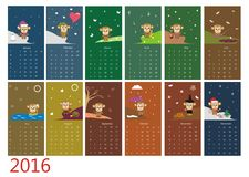 Calendar 2016 with cute monkey. Vector Royalty Free Stock Images