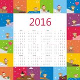 Calendar 2016 with cute monkey. Vector Stock Image