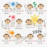Calendar 2016 with cute monkeys. For your design. Week starts on Monday Stock Photo