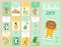 Calendar 2019. Cute monthly calendar with forest animals. Hand drawn style characters stock illustration