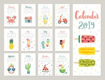 Calendar 2019. Cute monthly calendar with lifestyle objects, fruits, and plants. Hand drawn style illustration stock illustration