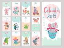 Calendar 2019. Cute monthly calendar with forest animals. Hand drawn style characters. Travel theme stock illustration