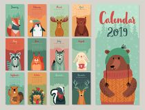 Calendar 2019. Cute monthly calendar with forest animals. Hand drawn style characters. Vector illustration royalty free illustration