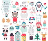 Calendar 2019. Cute monthly calendar with forest animals. Hand drawn woodland characters. Vector illustration royalty free illustration