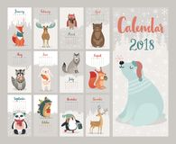 Calendar 2018. Cute monthly calendar with forest animals. Vector illustration stock illustration
